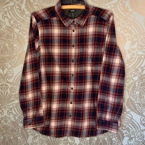 Roots Button Up Long Sleeve Plaid Flannel Top